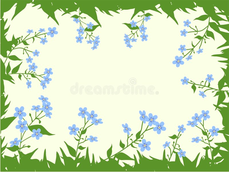 The form for the letter. The background consists of forget-me-nots. royalty free illustration