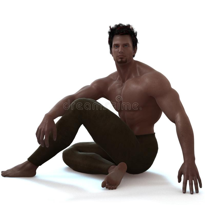 Form. A male model in a pose vector illustration