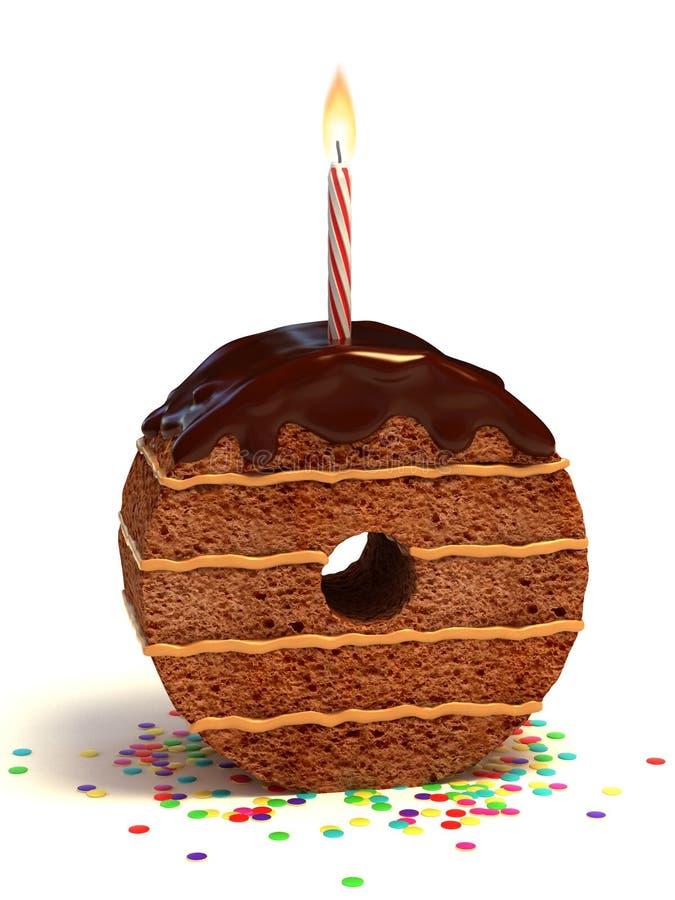 form nolla för födelsedagcakenummer royaltyfri illustrationer
