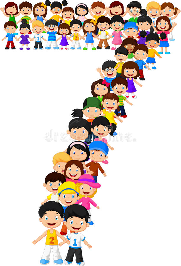 Form nummer sju för små ungar stock illustrationer