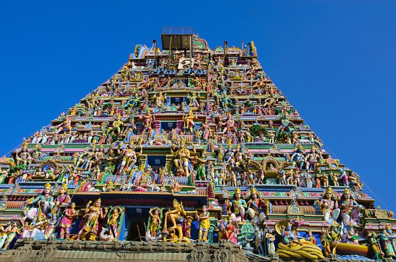 Sculptured facade of the Kapaleeshwarar Temple, Mylapore, Chennai, Tamil Nadu, India. Form of Shiva`s consort Parvati worshipped at this temple is called royalty free stock image