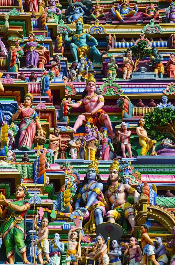 Sculptured facade of the Kapaleeshwarar Temple, Mylapore, Chennai, Tamil Nadu, India. Form of Shiva`s consort Parvati worshipped at this temple is called royalty free stock photo