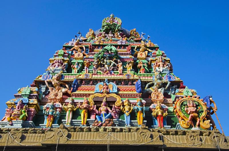 Sculptured facade of the Kapaleeshwarar Temple, Mylapore, Chennai, Tamil Nadu, India. Form of Shiva`s consort Parvati worshipped at this temple is called stock photography