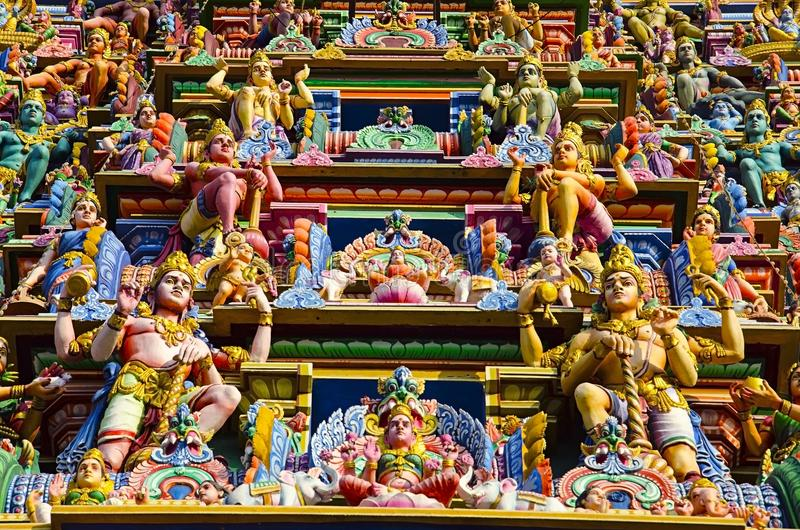 Sculptured facade of the Kapaleeshwarar Temple, Mylapore, Chennai, Tamil Nadu, India. Form of Shiva`s consort Parvati worshipped at this temple is called stock images