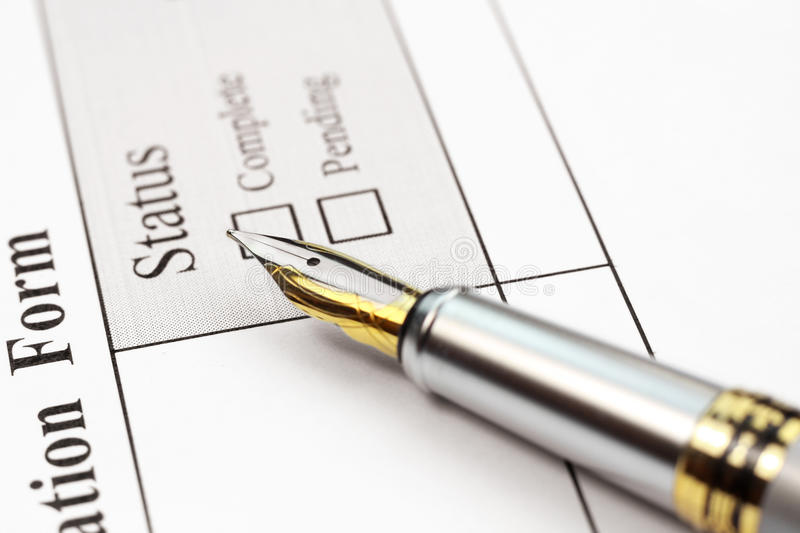 Form Status. Concept of application form status complete or pending royalty free stock photography