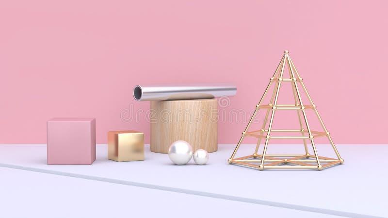 Form- und Formwürfelrohr-Bereichzylinder des Goldkegelrahmens geometrischer auf weißem Boden mit rosa Wandzusammenfassung stock abbildung