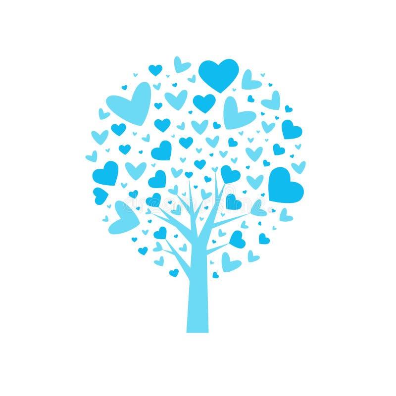 Form-Vektorhintergrund des Valentinsgrußes tree Blatt von den Herzen Getrennt auf weißem Hintergrund Auch im corel abgehobenen Be lizenzfreie abbildung