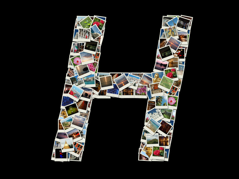 Form von h-Buchstaben gemacht wie Collage von Reisefotos lizenzfreie abbildung