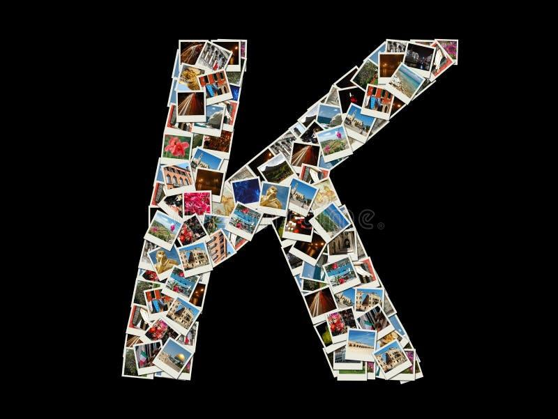 Form von k-Buchstaben gemacht wie Collage von Reisefotos stockfotografie