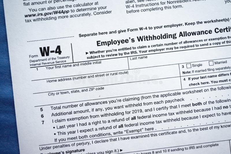 Form W-4 Employee`s Withholding Allowance Certificate. Virginia, USA - January 31, 2019: Form W-4 Employee`s Withholding Allowance Certificate Internal Revenue stock images
