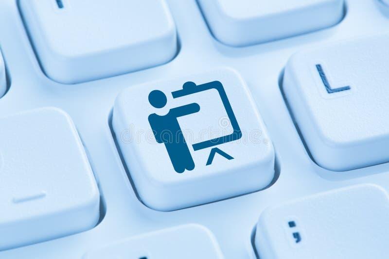 Formação aprendendo o Internet em linha de treinamento bl da oficina da educação imagens de stock