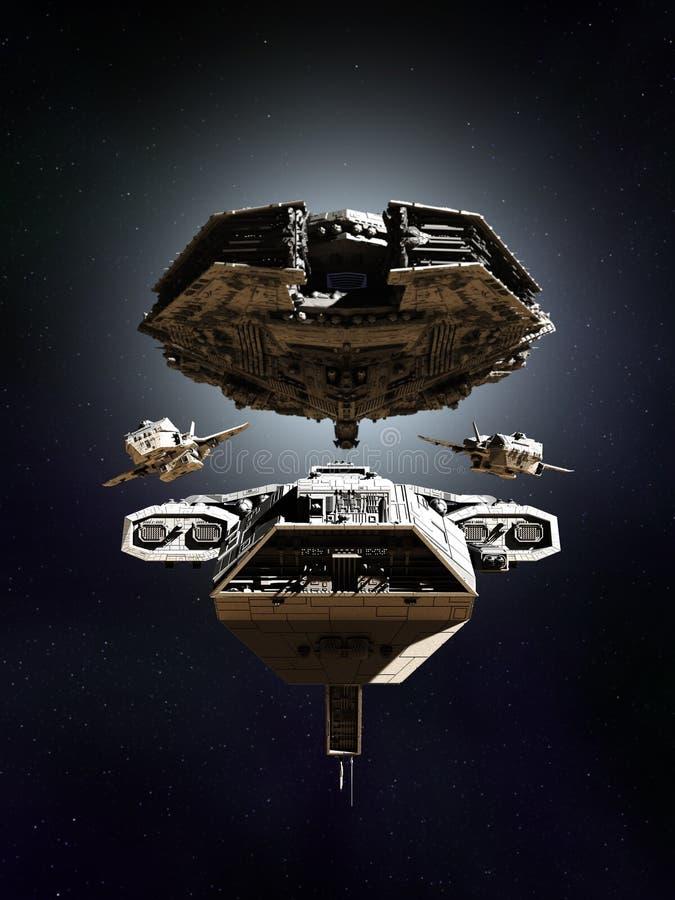 Formação da frota da batalha do espaço profundo ilustração stock