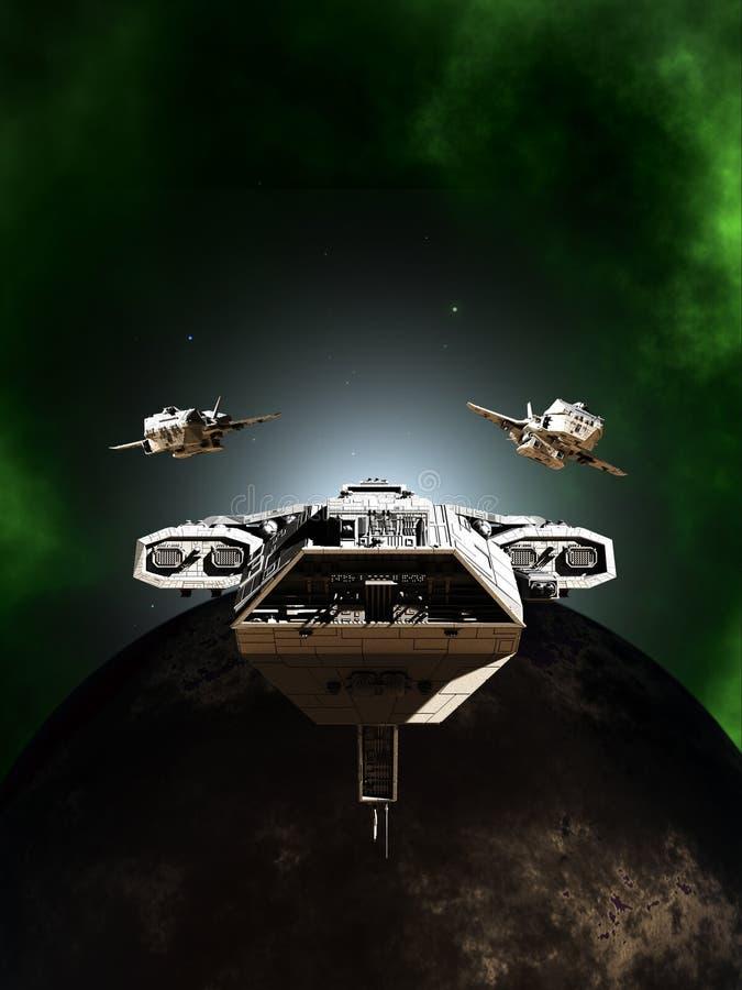Formação da frota da batalha do espaço profundo que passa um planeta escuro ilustração royalty free