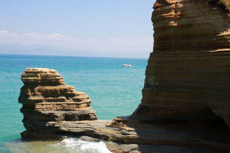 Formação de pedra da areia em Korfu (Grécia) foto de stock royalty free