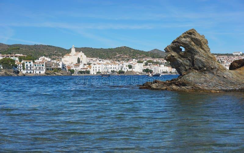 Formação de rocha da vila de Costa Brava Cadaques da Espanha imagens de stock royalty free