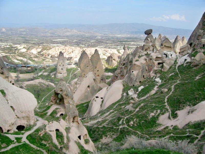Formação de rocha do andda cidadeda caverna de Cappadokia fotos de stock