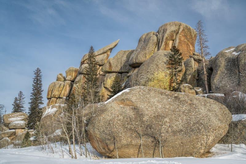 Formação de rocha do granito na área de recreação de Vedauwoo fotografia de stock royalty free