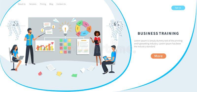 Formação profissional em empresas, reuniões, workshops, formação de pessoal de escritório, aumento das competências Brainstorming ilustração do vetor