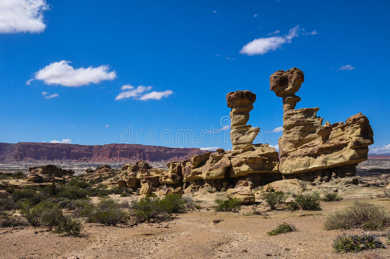 Formações de rocha de Ischigualasto no la Luna de Valle de, Argentina foto de stock
