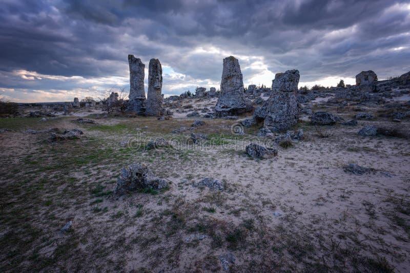 Formações de rocha do fenômeno em Bulgária em torno do kamani de Varna - de Pobiti Lugar nacional do turismo foto de stock royalty free