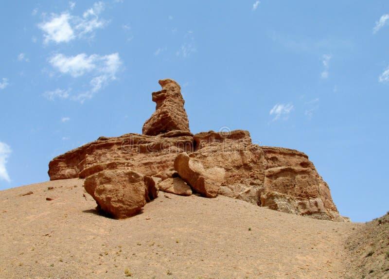 Formações de rocha no parque nacional de Charyn da garganta (Sharyn) fotografia de stock