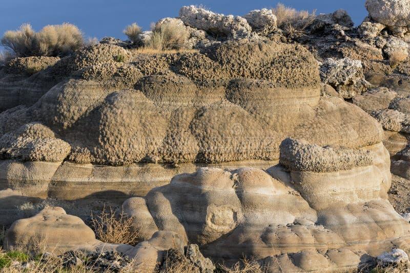 Formações do tufo ao longo de uma cama de lago imagem de stock royalty free