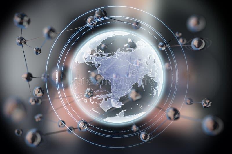 Forma abstracta de la esfera que brilla intensamente Tierra planeta del concepto 3d Fondo de la ciencia y de la tecnología foto de archivo libre de regalías