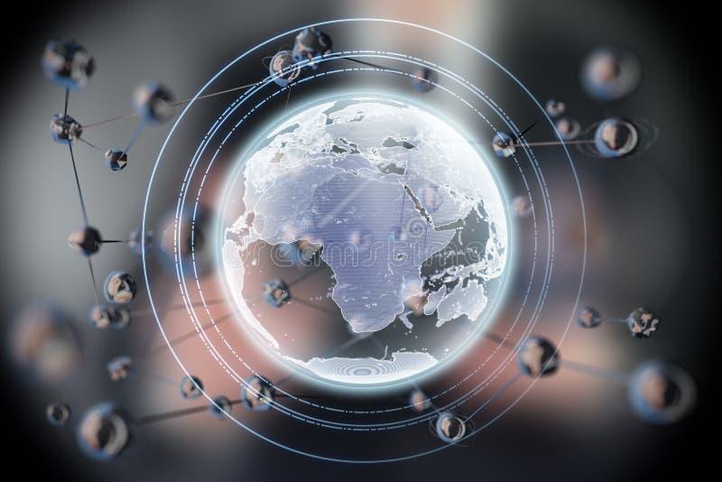 Forma abstracta de la esfera que brilla intensamente Tierra planeta del concepto 3d Fondo de la ciencia y de la tecnología imagen de archivo