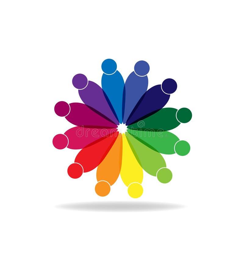 Forma abstracta de la flor con vector de la gente stock de ilustración