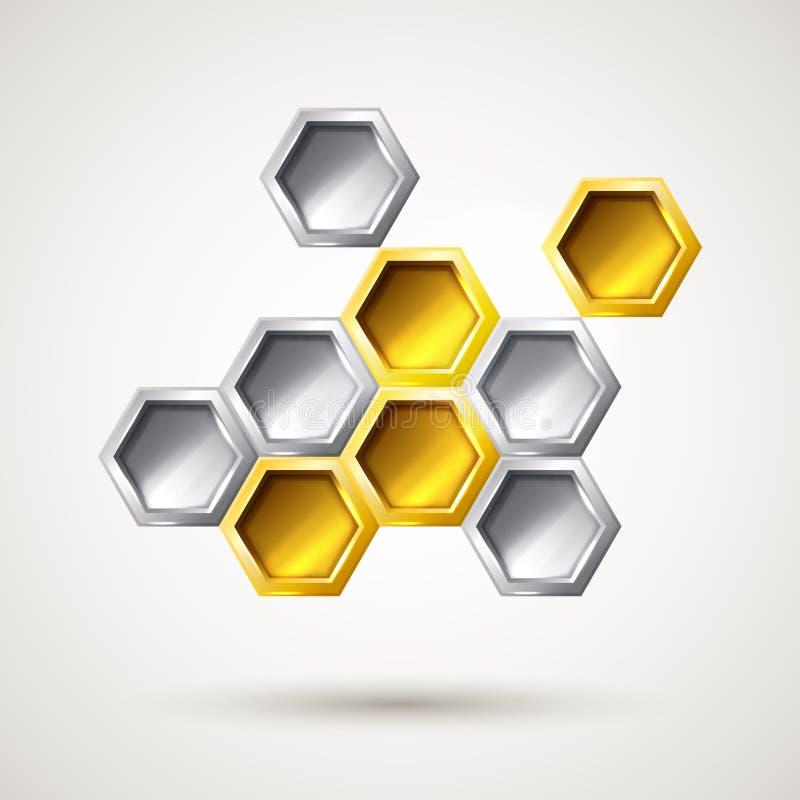 Forma abstracta de la plata y del oro del hexágono ilustración del vector