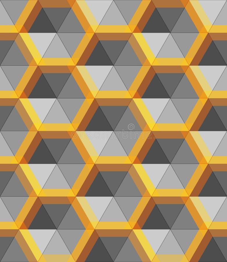 Forma abstracta de la plata y del oro del hexágono, objeto del metal del vector libre illustration