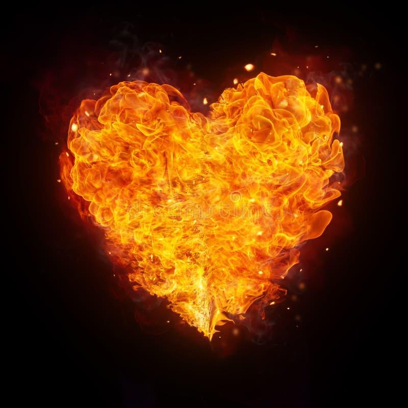 Forma abstracta del corazón del fuego en negro stock de ilustración
