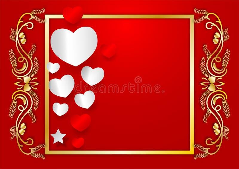 Forma abstracta del corazón del vector y marco de oro con el espacio de la copia en el fondo rojo, concepto del día de tarjetas d libre illustration