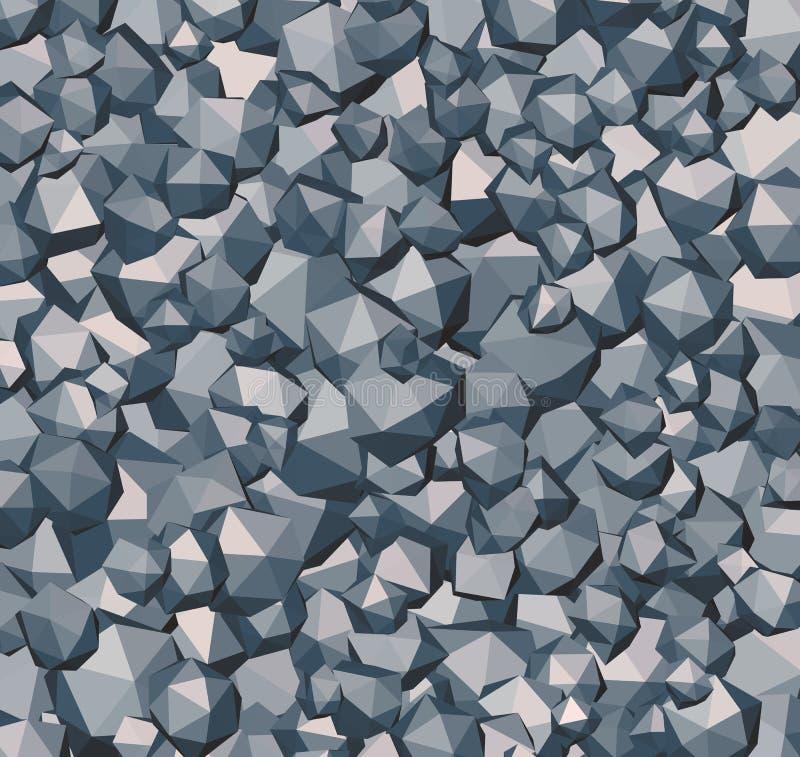 Forma abstracta poligonal de la roca de piedra en azul gris stock de ilustración