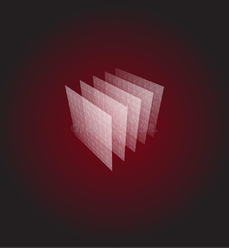 Forma abstracta Visualización geométrica roja, cubo de las capas ejemplo del vector de la arquitectura 3d stock de ilustración