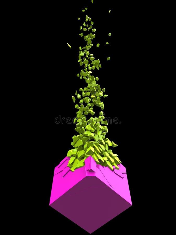 Forma abstrata cor-de-rosa do cubo que explode em mil partes verde-clara ilustração do vetor