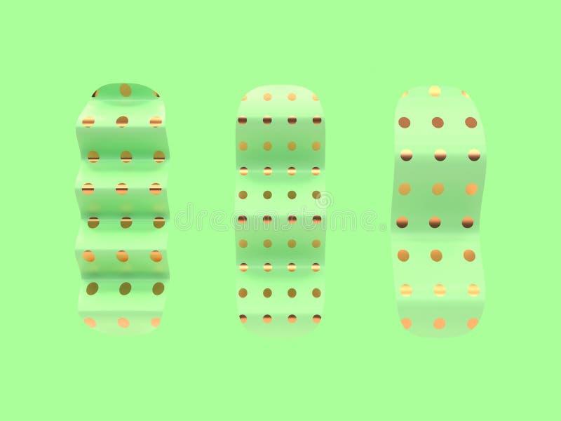Forma abstrata 3d da curva da onda três que rende o fundo verde ilustração stock