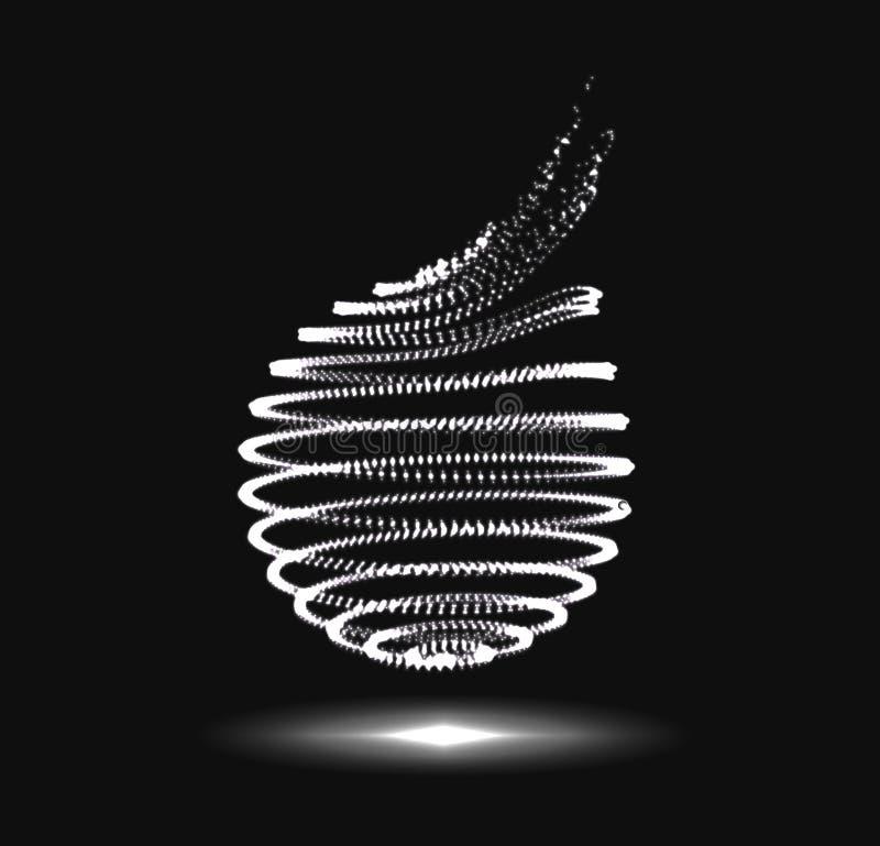 Forma abstrata da espiral da esfera 3D ilustração royalty free