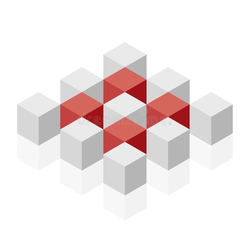 Forma abstrata do vetor do cubo Tipo isométrico da instituição científica, forma minimalistic do bloco ilustração do vetor