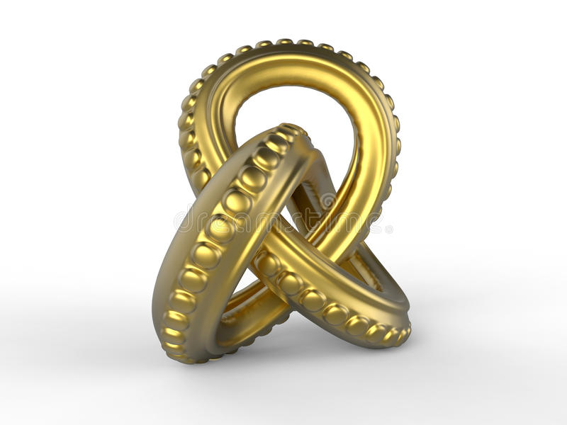 Forma abstrata dos tentáculos dourados ilustração stock