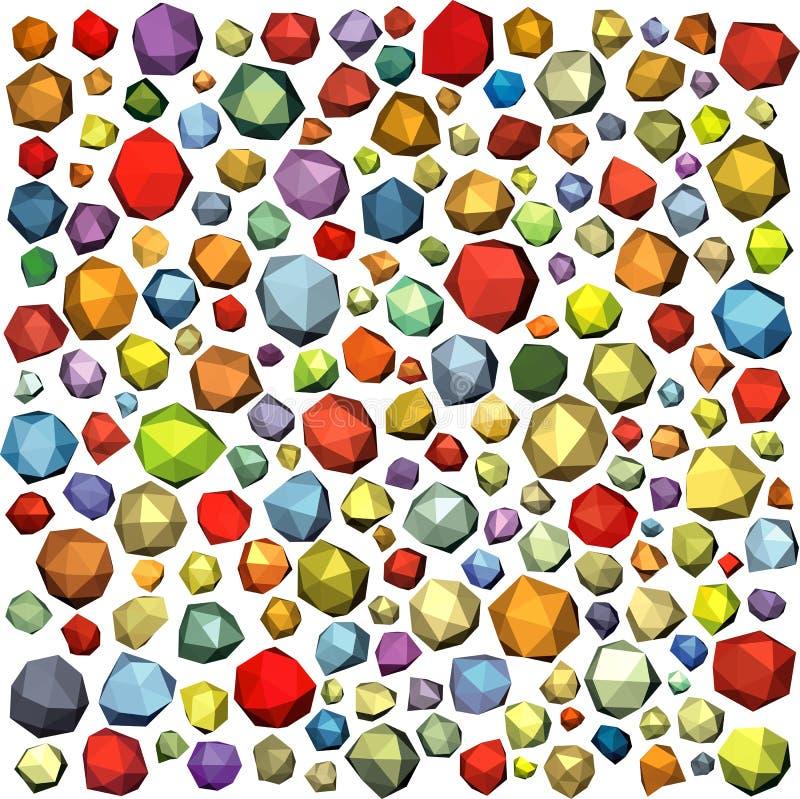 Forma abstrata poligonal da rocha da pedra de gema na cor múltipla ilustração do vetor