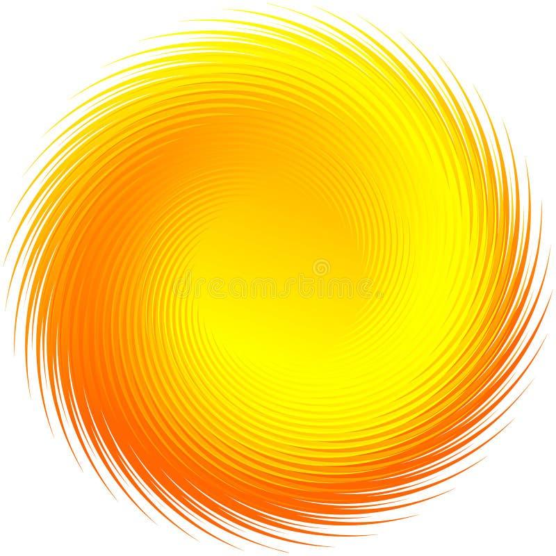 Forma alaranjada, amarela radial de giro isolada no branco ilustração do vetor