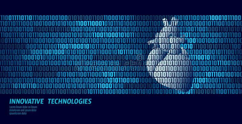 Forma anatômica da medicina do coração humano Do fluxo de dados em linha da informação do código binário do doutor vetor inovativ ilustração royalty free