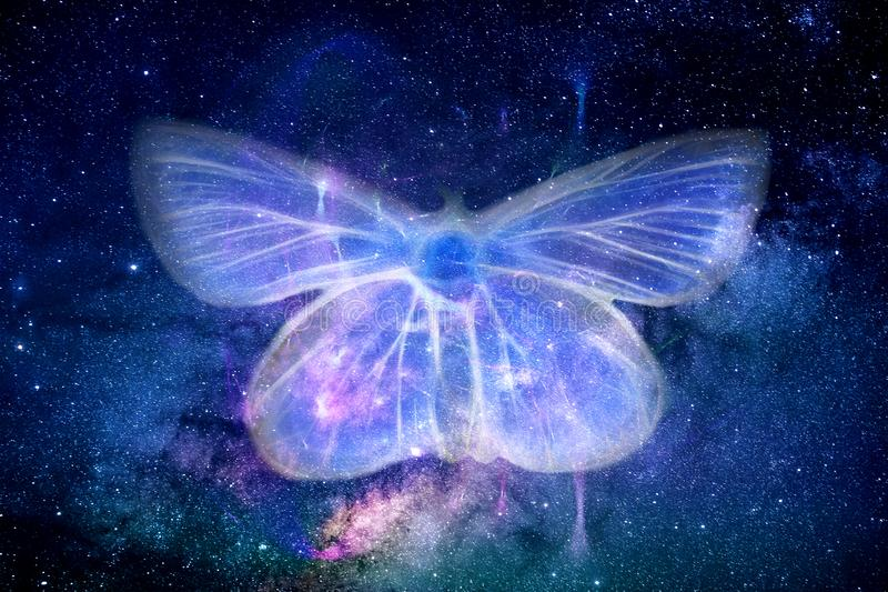 Forma artistica astratta della farfalla del campo di energia nel fondo dello spazio illustrazione vettoriale