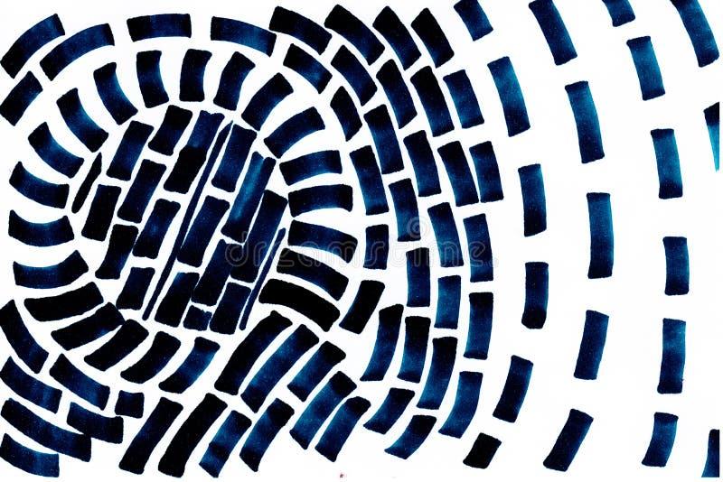 Forma astratta blu scuro di vortice disegnato a mano su fondo bianco illustrazione vettoriale