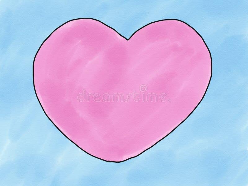 Forma astratta del cuore di rosa di scarabocchio di schizzo di tiraggio della mano su fondo blu, illustrazione, stile della pittu immagine stock