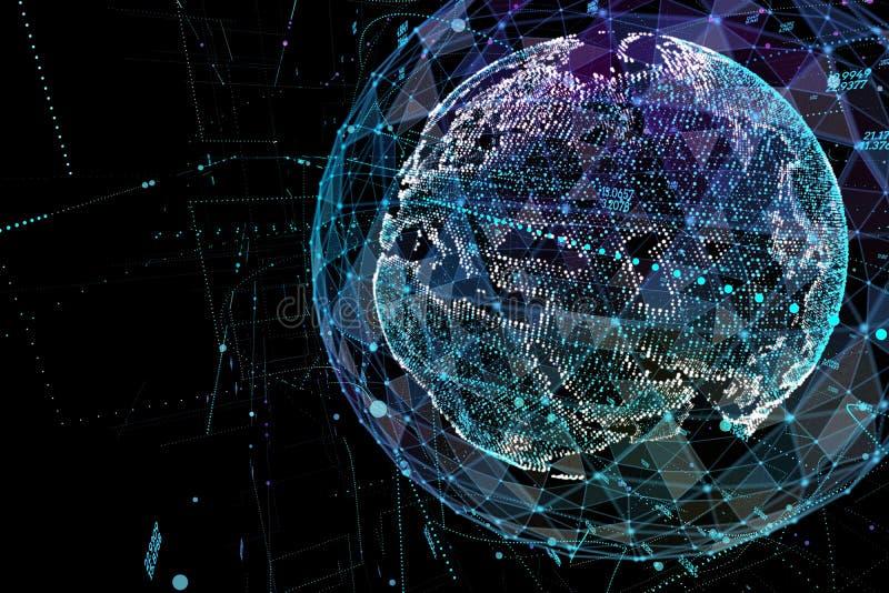 Forma astratta della sfera della comunicazione globale d'ardore Visualizzazione del collegamento di rete globale Globo futuristic illustrazione vettoriale