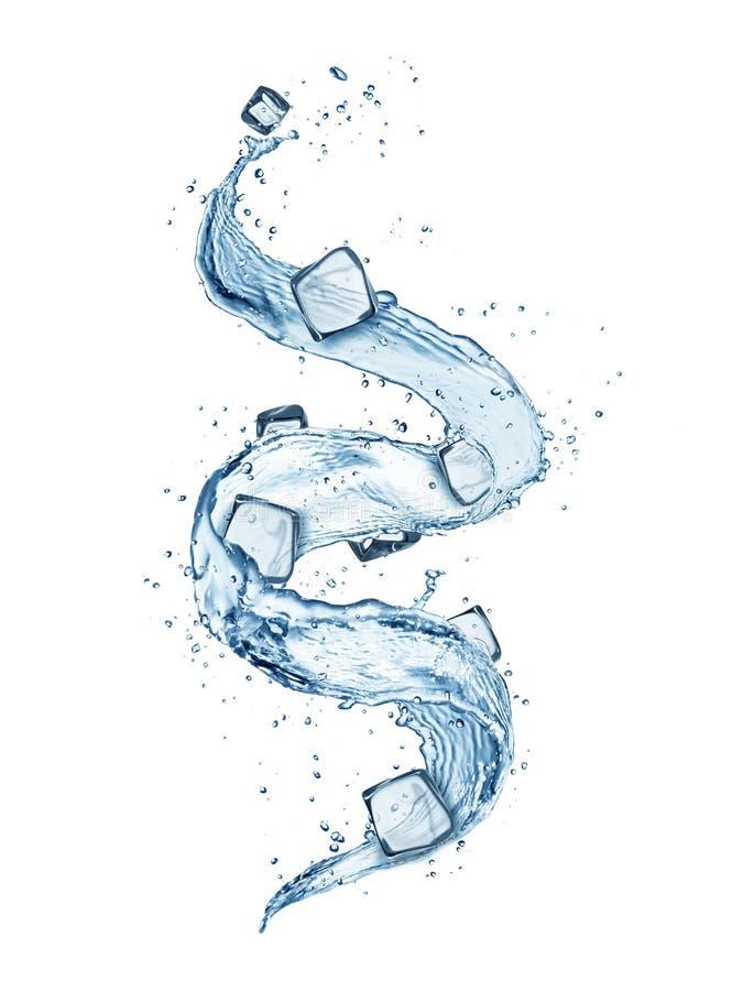 Forma astratta della spruzzata dell'acqua con il mucchio dei cubetti di ghiaccio, isolato immagine stock libera da diritti