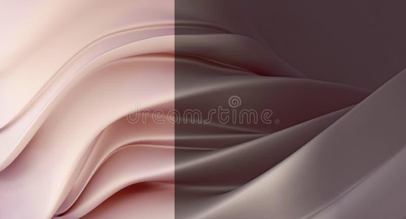 Forma astratta di rosa polveroso della perla di lusso e del fondo grigio-braun Parete di fusione astratta illustrazione di stock