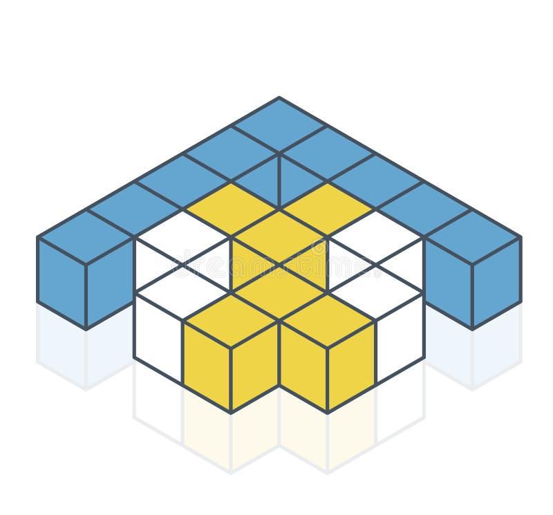 Forma astratta di vettore del cubo Marca isometrica descritta di istituzione scientifica, forma minimalistic del blocco royalty illustrazione gratis